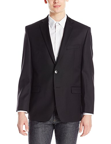Solid Two Button Suit Jacket (Calvin Klein Men's Modern Fit Two Button Side Vented Back Suit Separate Jacket, Black, 40 Regular)