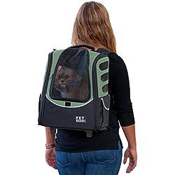 Pet Gear I-GO2 Mochila con Ruedas, Portador de Viaje, Asiento de Coche para Gatos/Perros, ventilación de Malla, Incluye Correa, asa telescópica, Bolsa de Almacenamiento, VerdeSalvia, Medium Escort