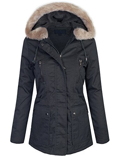 KOGMO Womens Zip Up Utility Jacket Coat With Faux Fur Lining and (Fur Anorak)