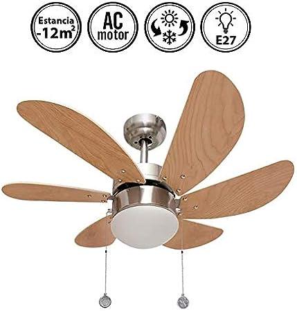 003 ventilador de techo 6 aspas níquel/haya, 1XE27 motor reversible. AkunaDecor.: Amazon.es: Hogar