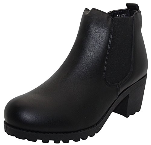 True Face Womens Ladies Chelsea Ankle Boots Slip On Shoes Black 1Pxpgw