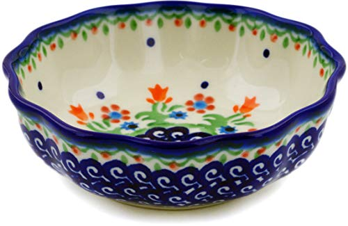 Polish Pottery 4¾-inch Scalloped Fluted Bowl (Spring Flowers Theme) + Certificate of Authenticity