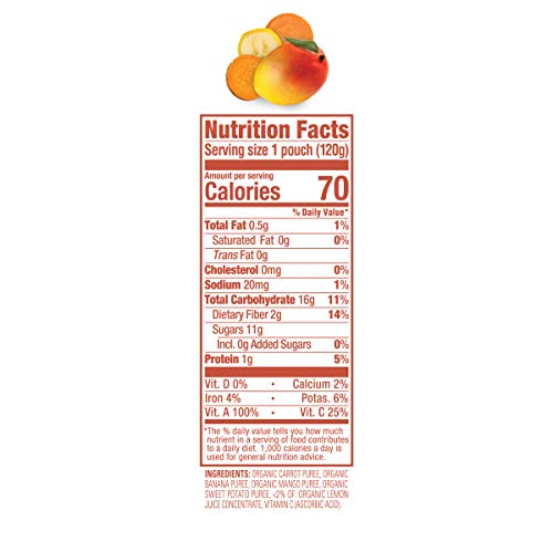 415lLh0PBAL - Happy Tot Organic Stage 4 Baby Food Love My Veggies Carrot Banana Mango & Sweet Potato, 4.22 Ounce Pouch (Pack Of 16) (Packaging May Vary)