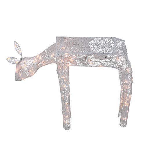 - Northlight 3-D Glitter Animated Feeding Doe Reindeer Lighted Christmas Yard Art Decoration with Clear Lights, 42