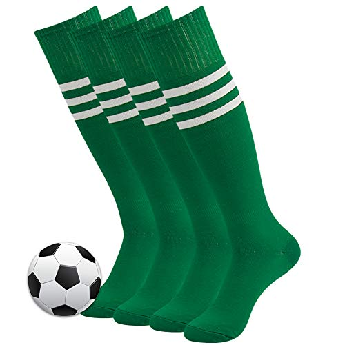Soccer Socks, 3street Unisex Youth Warm Thick Cushioned Sport Athletic Knee-High Long Tube Soccer Baseball Football Socks for Boys Back to School Gift Green 4 Pairs