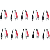10 Pack 3.5mm Stereo Male to 2 RCA Male Cable 1 Feet (Red & White), CNE465925