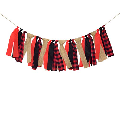 Lumberjack Banner Timber Plaid Baby Boy Baby Shower Birthday Party Highchair Decoration Photo Backdrop