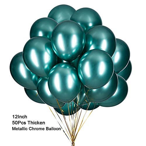 Chrome Balloons 12inch 50 Pcs Green Latex Metallic Balloons Thicken Helium Shiny Balloons for Weddings Birthdays Baby Shower Graduation Party Decorations Supplies - Metallic Green Balloons]()