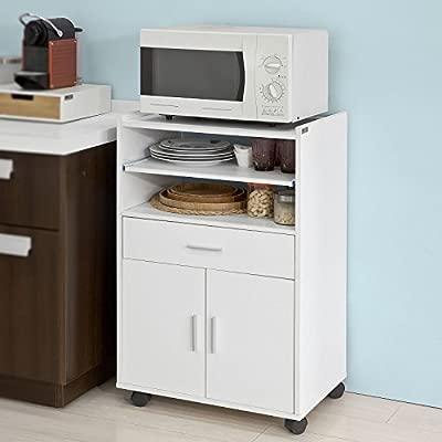 SoBuy Aparador Auxiliar bajo de Cocina para microondas,con 2 Puertas y 1 cajón,L59 cm x P40 cm x H92 cm,FSB09-W,ES