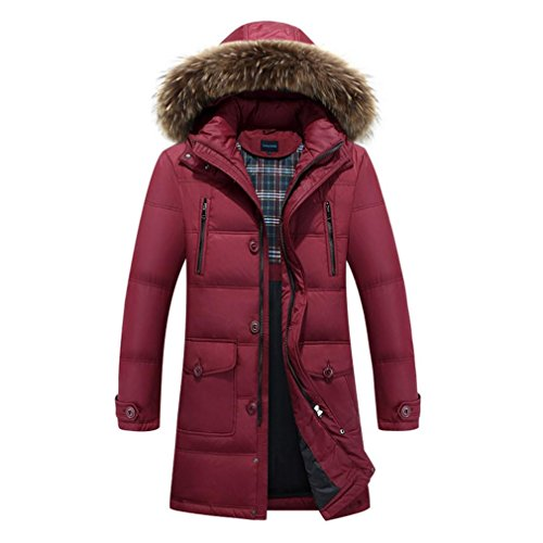 YANXH Winter Thicker Down jacket Male In the long Section Hooded coat , wine red , xxl by YANXH outdoors