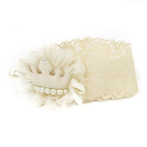 FRILLS Ivory Lace Crown Elastic Hairband