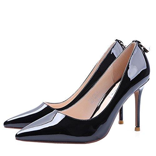 SFSYDDY Pendant Le Printemps Et L'Automne Nouveau Sexy Peint À La Lumière De L'Talons Hauts Chaussures En Cuir 9Cm Avec Fine Que Seul Les Chaussures Chaussures De Travail Conseils 36 Noir owYb9Ei
