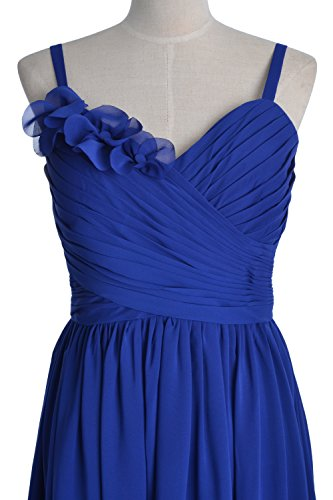MACloth Women Straps Chiffon Short Bridesmaid Dress Wedding Party Formal Gown Lavanda