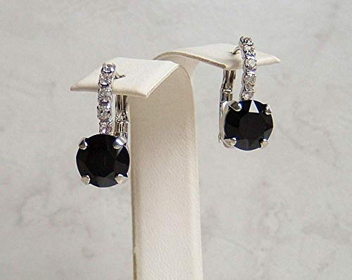 Black Round Classic Faux Spinel Made with Swarovski Crystal Lined Nickel Free Rhodium Plated Leverback Earrings Gift Idea