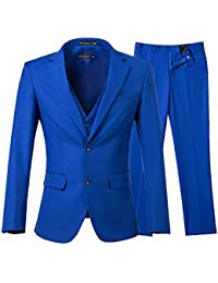 Men's 3 Piece Royal Blue Suits 2 Buttons Wedding Groom Tuxedos