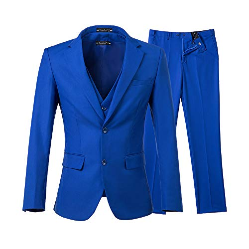 Yanlu Men's 3 Piece Royal Blue Suits 2 Buttons Wedding Groom (Blue 2 Button Suit)