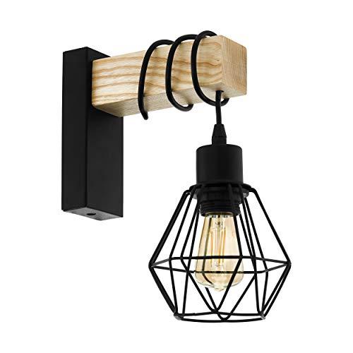 EGLO wandlamp TOWNSHEND 5, 1 lichtbron vintage wandarmatuur in industrieel ontwerp, retro lamp van staal en hout, kleur…