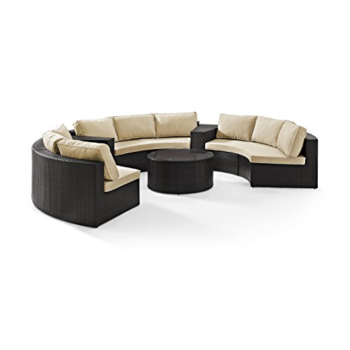 Crosley Furniture Catalina 6-Piece Outdoor Wicker Coffee Table and Sectional Sofa with Sand Cushions - Brown