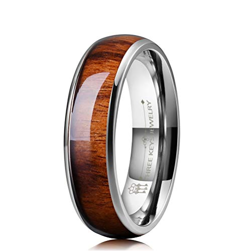 THREE KEYS JEWELRY 6mm Titanium Wedding Band Engagement Ring Silver with Real Santos Rosewood Wood Inlay Comfort Fit Size 11.5 ()