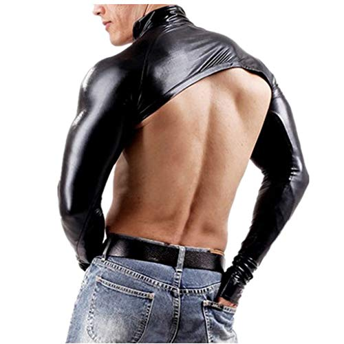 iEFiEL Mens Faux Leather Thumb Hole Cuffs Hollow Arm Sleeves Shrug Bolero Club Motorcycle Costumes Black Medium]()
