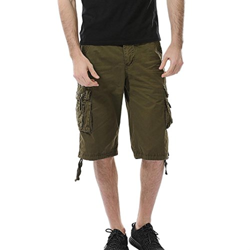 (Clearance Men's Cargo Shorts Pant, Casual Stretch Sports Fitness Gym Pants with Pocket (Army Green, 30))