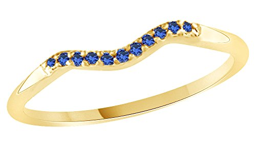 Yellow Gold Sapphire Wedding Band - 4