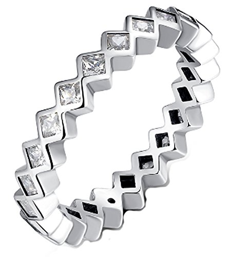 Chariot Trading - 925 Sterling Silver Princess Stackable Finger Ring (SIZE : 8) - Fake Bull Nose Ring Costume