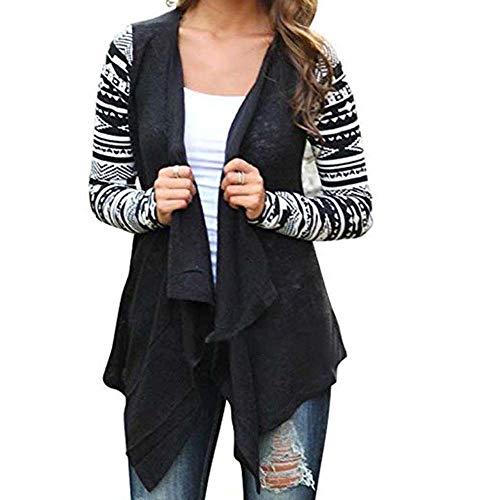 Sunhusing Women's Geometric Print Long Sleeve Irregular Hem Splicing Knit Cardigan Jacket Black