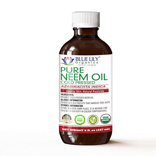 Blue Lily Organics Neem Oil 8 Fl Oz, USDA Certified Organic, Cold Pressed, Unrefined, Premium Quality, 100% Pure. Excellent for Skin care, Hair care and in Garden for Natural Pest Control