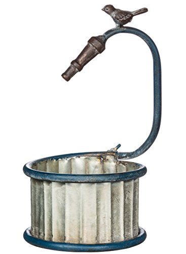 Sullivans Galvanized Metal Bucket Planter with Imitation Hose & Bird Accent Chickadee Hose Holder