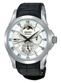 Premier White Dial (Seiko SRX003 Mens Premier Kinetic Direct Drive Moonphase White Dial Black Leather Watch)