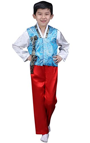 CRB Fashion Korean Outfit Boys Toddler Mens Dolbok Hanbok Top Pants Costume (Height 100cm, Sky Blue) ()