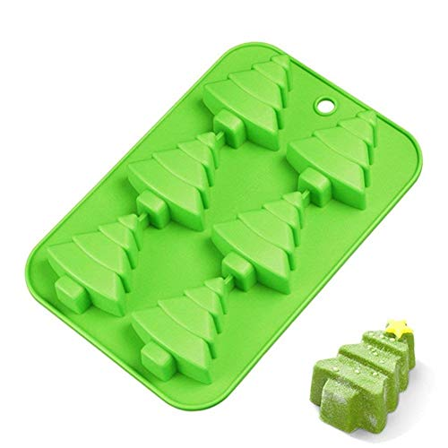 (M-ELEGANT 6 Christmas Tree Silicone Cake Baking Mold Cake Pan Handmade Soap Moulds Biscuit Chocolate Ice Cube Tray DIY Mold)
