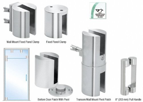 Chrome Beretta Free Swinging Door Kits for Use With Fixed Transom With 8'' Handle by CR Laurence