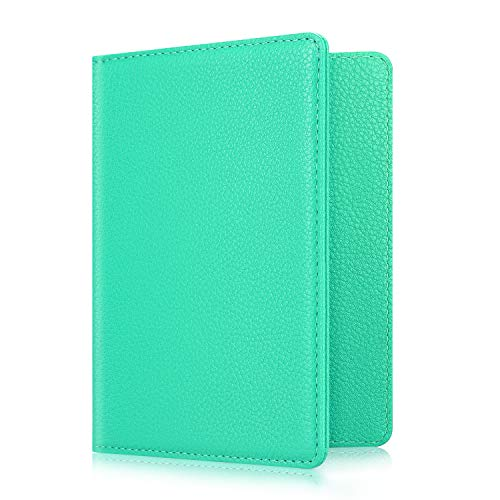 Fintie Passport Holder Travel Wallet RFID Blocking PU Leather Card Case Cover, Mint Green
