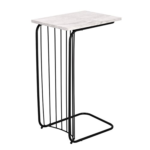 2 Printers Side (Adeco C-Sharped Accent Table, Marble Style Table Top with Black Metal Leg, 16x12 inches Table Top, Heights 26 Inches)
