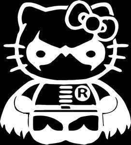 Diy Pill Costume (Hello Kitty Robin From Batman Decal Vinyl Sticker|Cars Trucks Vans Walls Laptop| White |5.5 x 5 in|CCI995)