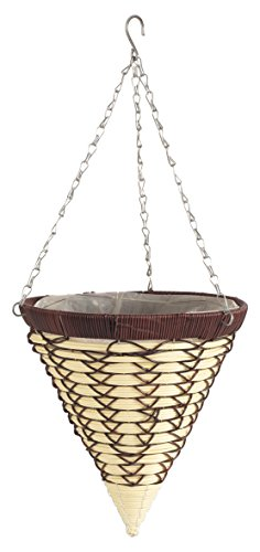 Evergarden 14-inch Luxury Artificial Rattan Hanging Basket, Cone Brown/Cream (1 Piece)