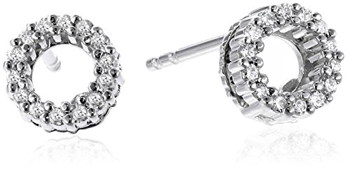 Roberto Coin Tiny Treasures 18k White Diamond Open Circle Stud Earrings (1/10cttw, G-H Color, SI1 Clarity)