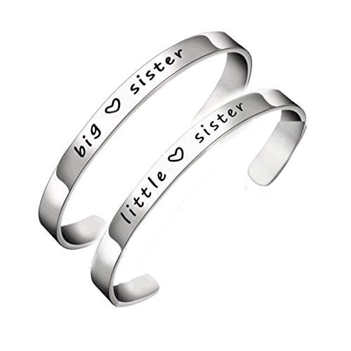 Simple Big Sis Middle Sis Little Sister Stainless Steel Bracelet Open Cuff Bracelet For Women Girls