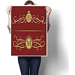 "Living Room Home Office Decorations Monogram Design Elements Graceful Template Elegant Business Emblem Vector Illustration Decorative Fine Art Canvas Print Poster K 24"" x L 32"""