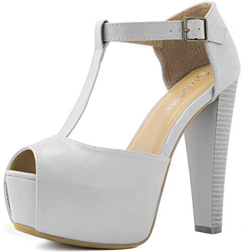 Peep Toe Buckle Sandals - DailyShoes Women's Peep Toe Platform Sandal Pumps Open Toe Ankle Buckle T-Strap Extreme Evening Party Dress Casual Shoes, White PU, 6 B(M) US