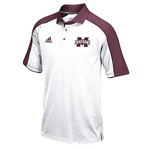 - adidas Mississippi State Bulldogs NCAA Men's Sideline Climalite Performance Football Coaches White Polo Shirt (4XL)
