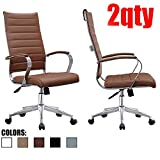 Product review for 2xhome - Set of Two (2) - Brown- Modern High Back Tall Ribbed PU Leather Swivel Tilt Adjustable Chair Designer Boss Executive Management Manager Office Conference Room Work Task Computer
