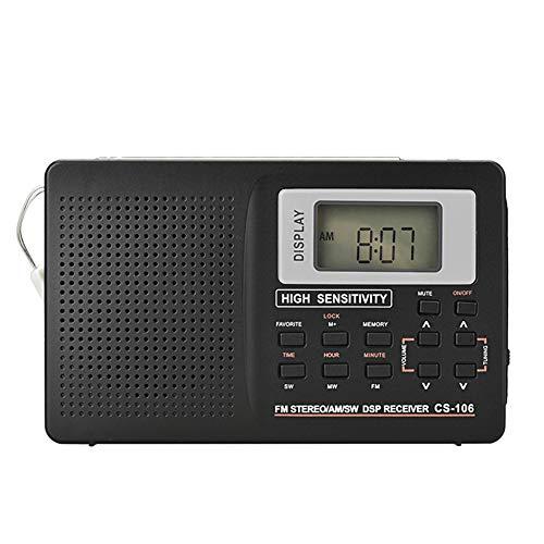 Gyswshh Portable Mini Digital Radio, Receiver ,Full Band Antenna FM AM Stereo Speaker 9K