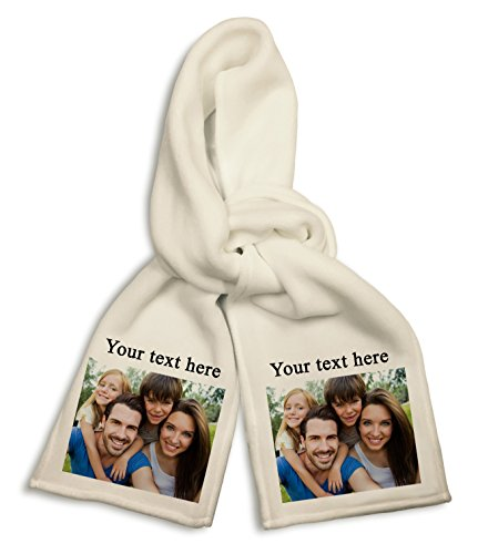 Personalized Add Your Photo and Text White Polyester Scarf Custom Customizable Gift (Personalized Mens Scarf)