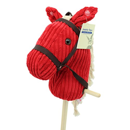 Sweety Toys 6755 RED Sugar CORD COTTON hobby horse with sounds