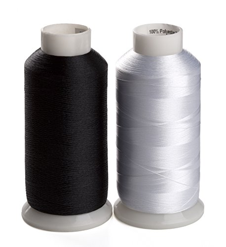 Simthreads 2 Bobbin Thread for Sewing and Embroidery Machine 1 Black and 1 White 5500 Yards Each - 60WT Polyester Bobbin Fill Thread Bottom Threads