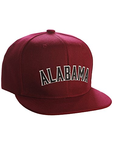 Original Snapback Custom American Cities State Letters Ajustable Flat Visor Cap (Alabama Burgundy, White Black)