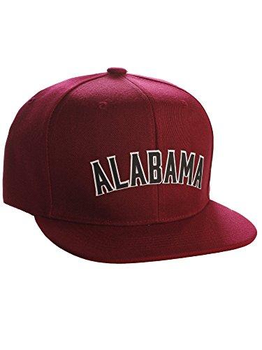 Original Snapback Custom American Cities State Letters Ajustable Flat Visor Cap (Alabama Burgundy, White Black) ()